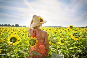 Girl in a field of sunflowers