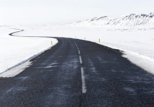 Icy road with a lot of snow