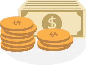 image of coins and dollar bills