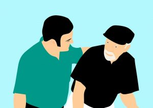 Cartoon depiction of a man talking to an elderly about senior moving