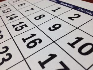 a calendar with dates