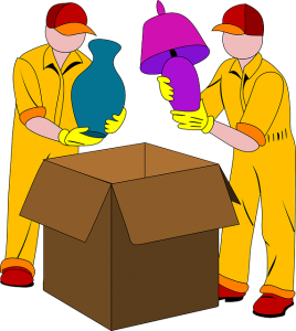 Some people packing fragile items