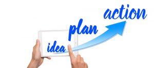 Words idea, plan, action