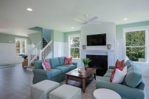 Light blue living room.