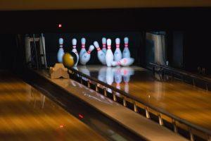 bowling pins and bowling ball