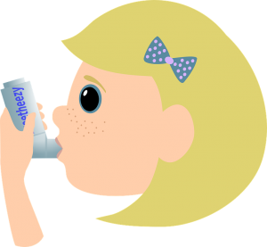 A cartoon girl using an inhaler