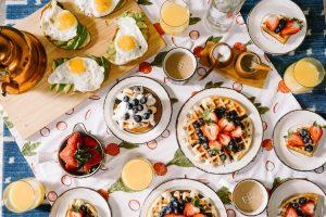 Breakfast spread.