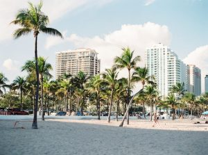 Beach and buildings in Miami.