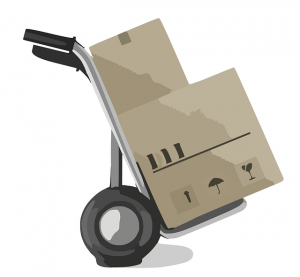 Boxes on a moving dolly