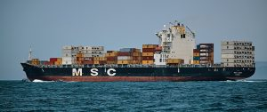 a huge cargo ship in the sea