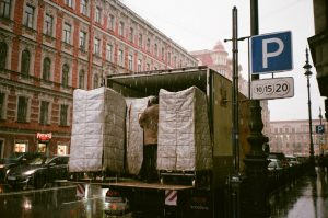 Moving truck being loaded.