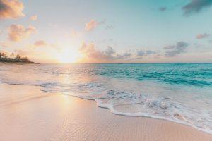 Beach at golden hour.