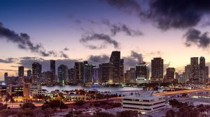 Miami at sunset.
