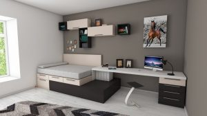 Bedroom with space-saving furniture for people living in smaller spaces