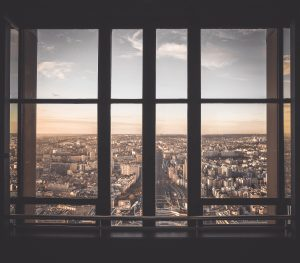 Window with a downtown view