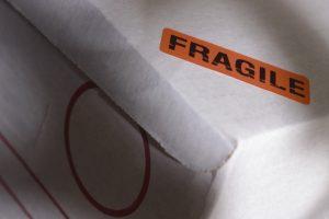 Fragile sticker on white.