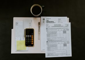 calculator and documents for taxes