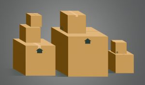 various cardboard boxes