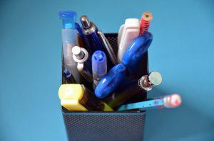 box full of pens