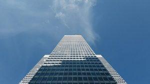 A skyscraper and sky