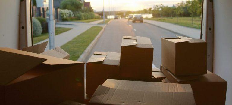 cardboard boxes in a van