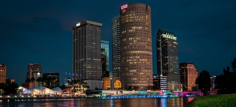 Night view of buildings in Tampa.