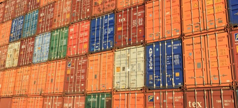 Stacks of storage containers in different colors.