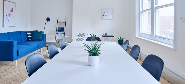 A modern conference room.