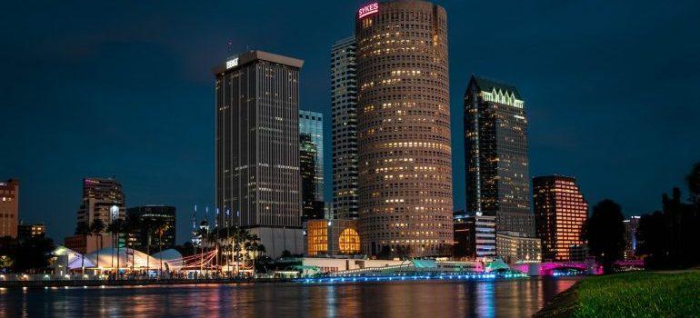 Skyline view at night at Tampa Bay.