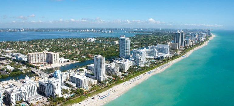 A view of Miami from the coast, representing places where long distance movers in Pembroke Pines might move you.