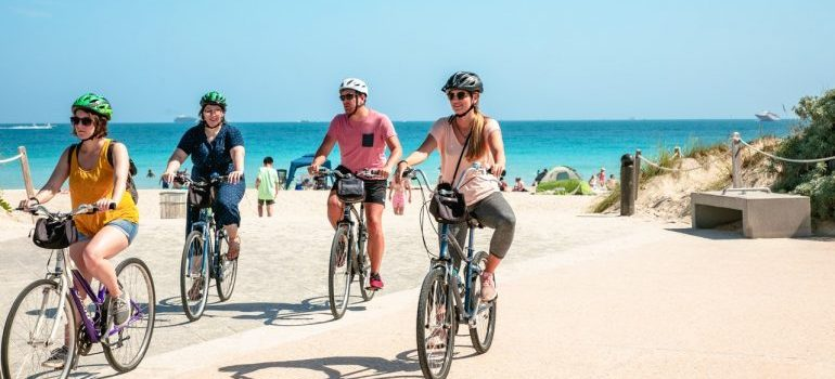 Few people riding bicycles in Miami Beach.
