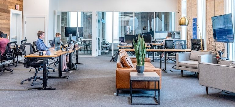 an office with people working