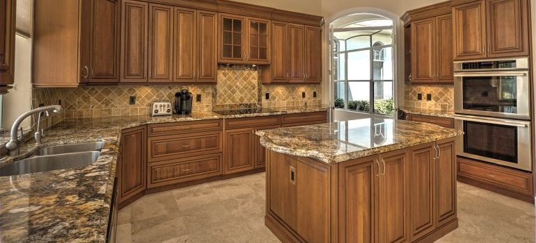 A brown household kitchen