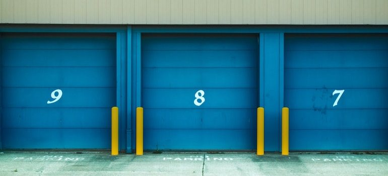 a row of storage units doors