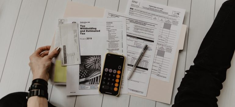 A person doing some calculations