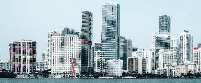 Skyline of commercial buildings in Miami.