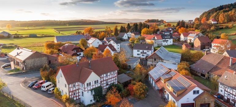 an aerial view of a town