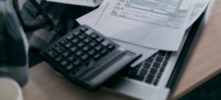 calculator on a laptop