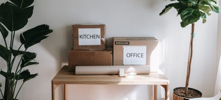 moving boxes on a table