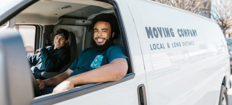 movers in a white van