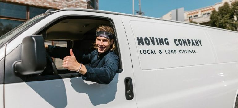 commercial Miami Gardens movers in a van