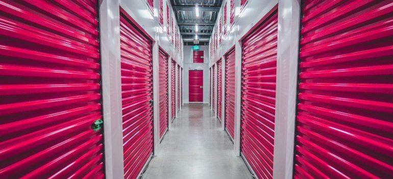 Storage unit with pink sliding doors.