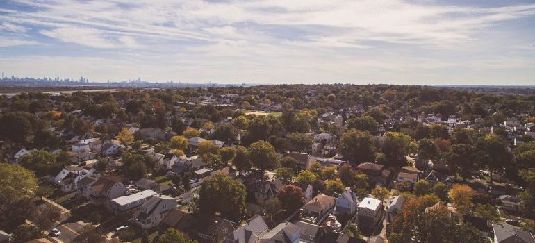 Aerial view of a neighborhood.