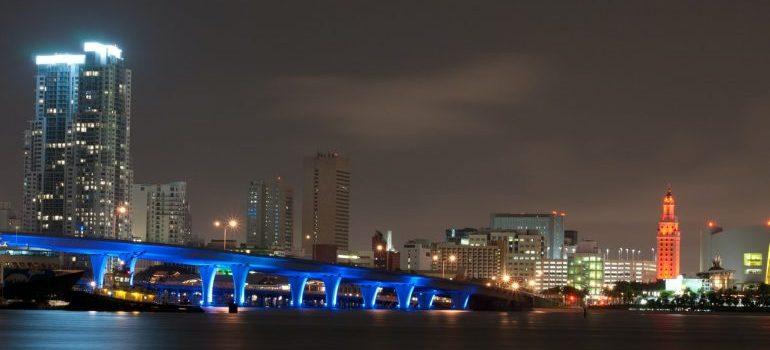 Miami city at night