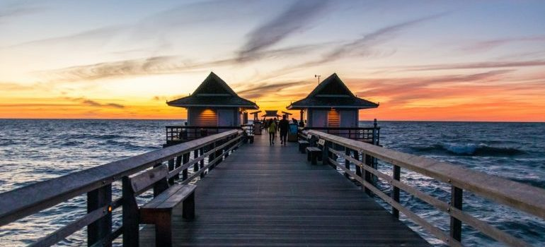View of a sunset and a dock.